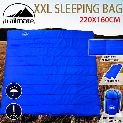 Double Outdoor Camping Sleeping Bag Hiking Thermal Tent Winter -10°C 220x160cm