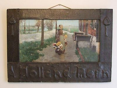 Arts & Crafts pewter frame by Ackermann Holland Morn print George Hitchcock