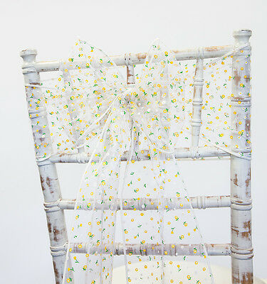 Spring Flower Design Organza Sashes Or Table Runners Events Weddings Chaircover