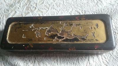 Old (Antique?)  Japanese Long Lacquer Box -missing inlay needs careful TLC