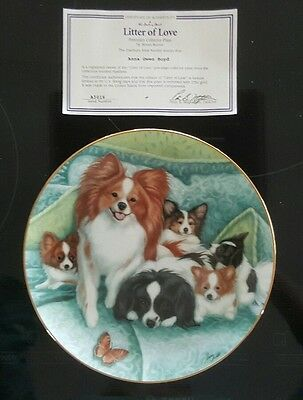 Papillon Danbury Mint Burnett LITTER OF LOVE  Dog Plate