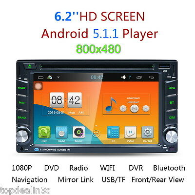 "6.2"" Voiture Autoradio Dual Core Double 2 DIN Android HD GPS BT 3G WIFI DVD FM"