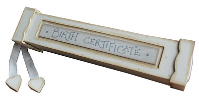 New Baby Gift Cream Wooden Birth Certificate Holder Shabby Chic#1628