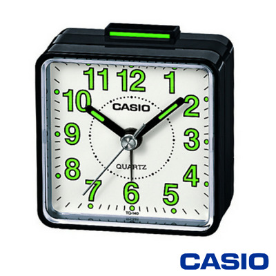 Casio Retro Travel Beep Alarm Clock & Luminous Numbers - Black/white Tq140-1Bef