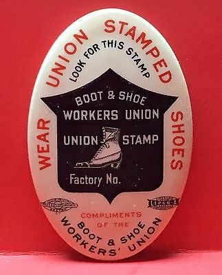 Antique Celluloid BOOT & SHOW WORKERS UNION Advertising Pocket Mirror c1910-1920