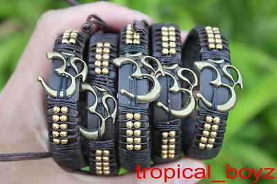 5 Handmade OHM with Brass Beads Leather Slip-Knotted Bracelets Wholesale