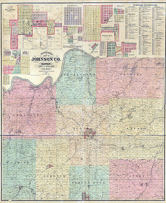 1886 Farm Line Map of Johnson County Kansas LARGE 40 x 48