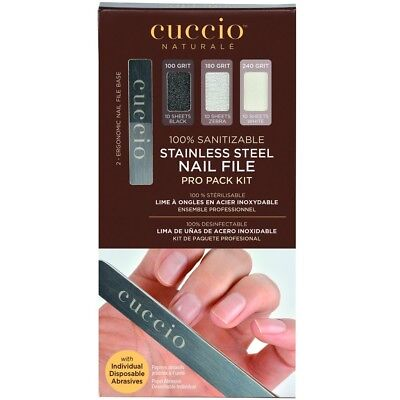Cuccio Stainless Steel Nail File Pro Pack Kit w/ Individual Disposable Abrasives
