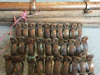 "Vintage Wooden Stair Rods x15 Carpet Antique Old 32 Clips Brackets  24""long"
