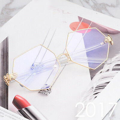 Womens Designer Clear Lens Hexagon Irregular Fashion Glasses 70's Ladies