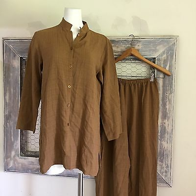 Eileen Fisher LINEN Pants Top Set Outfit Brown Women's Small