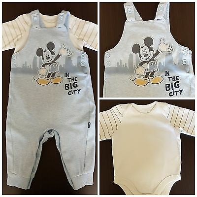 Baby Boy Toddler Disney Mickey Mouse Baby Blue Dungaree Outfit Set 9-12 Months