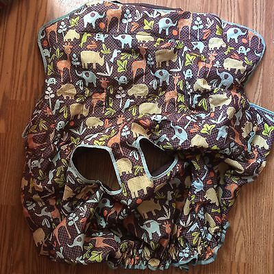 Infantino Shopping Grocery Cart and High Chair Cover Multi Print Animals
