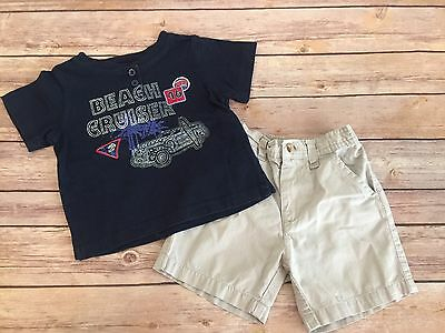 EUC Baby Boys 2pc Shirt and Short Outfit Set - 18 Months
