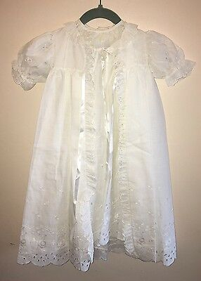 Vintage Eyelet Lace White Christening Gown 2pc Jacket & Dress Infant Boy Or Girl