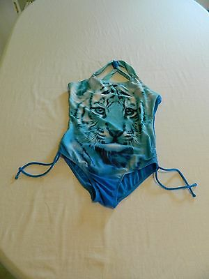 Justice Girls Cute Blue Tiger One Piece Bathing Suit Size 16