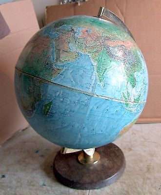 1960's Philips 12 inch True to life world globe on wooden stand + booklet GC