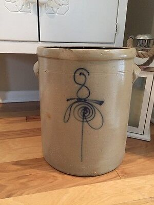 Antique Salt Glaze Crock Bee Sting #8 Decoration Cobalt Blue -Vintage Stoneware