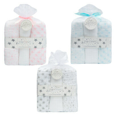 Newborn Cotton Muslin Square Burp Cloth Nappy Wipe 3 Pack Swaddle Blanket 76x76