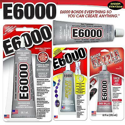 E6000 Glue Multi-Purpose Industrial Strength Craft Beads 29.5ml 5.3ml or Nozzle