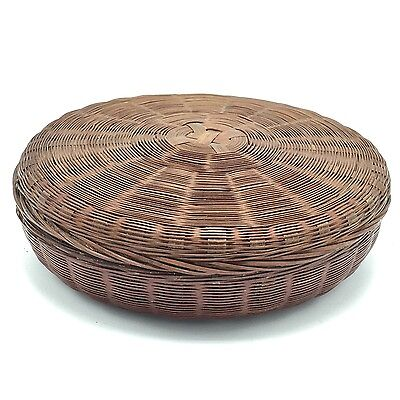 Antique Chinese Sewing Basket Woven 10 Inch Diameter Aged Red Lining Lid