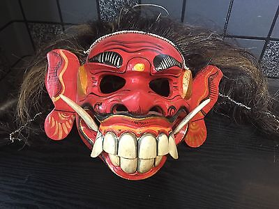 Stunning Indonesian Bali Tribal Demon  Hand Caved Mask Moveable Jaw Wild Mane
