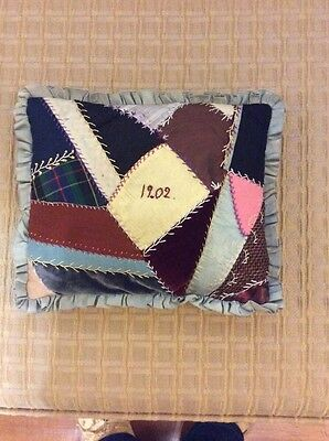 Vintage Small Crazy Quilt And Hand Embroidered Pillow/Mourning Pillow