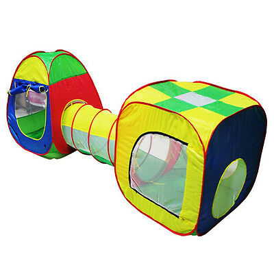 Cubby-Tube-Teepee 3pc Pop-up Play Tent Children Tunnel Kids Adventure House Q5U5