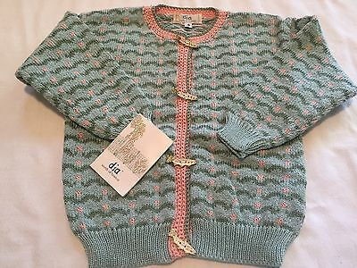 dia north of boston Sweater Trout Fish 100% Cotton Handmade USA VT NWT 4 NEW vtg