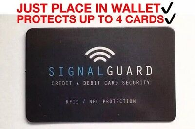 Signal Guard RFID Blocker Contactless Credit Card Protector JUST PLACE IN WALLET
