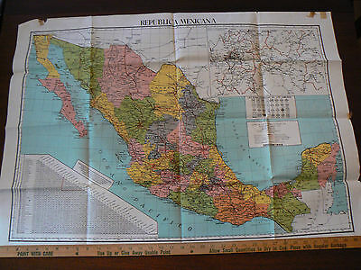 """Map of Mexico 1956 Highway road map   States, Insert ard Mexico City   36"""" x 26"""""""
