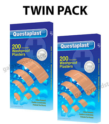 Twin Pack - 2 X 200 Questaplast Assorted Washproof First Aid Plasters Waterproof
