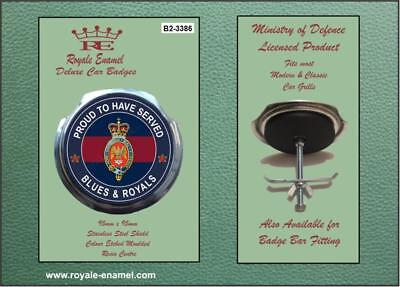 Royale Military Car Grill Badge & Fittings BLUES & ROYALS PROUD B2.3386