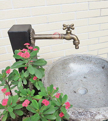 "Solid Brass Cross Garden Outdoor Faucet 8"" inches L - With a Brass Connecter"