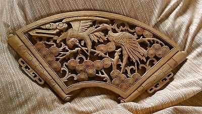 Chinese Or Japanese Carved Wooden Panel Ornamental Oriental Carving In Vgc
