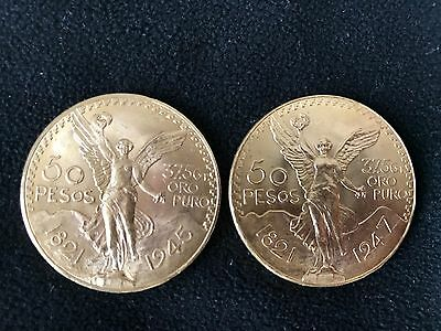 Pure 1.3 Ounce Gold Mexican Centenario Coins (Uncirculated 1945,1947) Perfect
