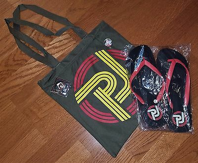Pearl Jam Lightning Bolt Bundle Flip Flops Tote Bag Pin Backspacer Bouncy Ball