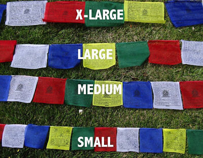 25 Tibetan Buddhist Prayer Flags Cotton Made by Tibetan Refugees MEDIUM