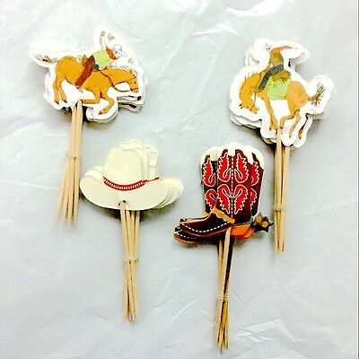 24pcs birthday Party decoration Baking Supplies west cowboy Cakes inserted card