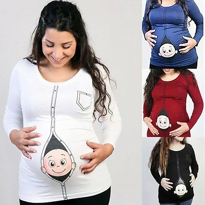 Womens Funny Baby Probing Maternity Pregnant Long Sleeve  T-shirts Loose Tops