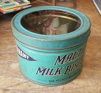 Rare Pennant Malto Milk Biscuit Tin 1920-30 Store Display with Glass Lid