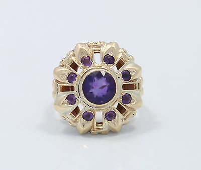 Beautiful Vintage Ring with 10k Yellow Gold & Antique Cut Amethyst