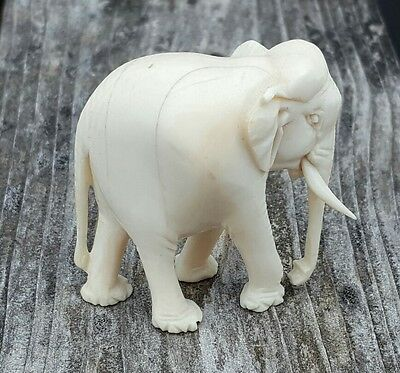 Antique Vintage Chinese Carved Bone Ivory Colored White Elephant Figurine