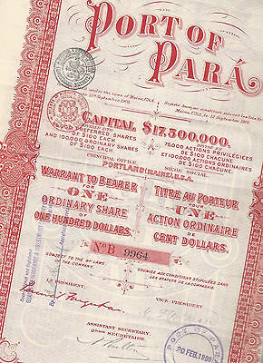 Titre au Porteur - Action Ordinaire de 100 $ - Bresil - Port of Para - 1906.