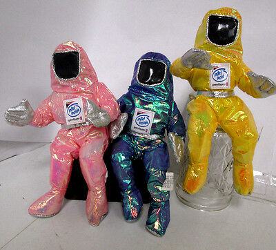 """(5)  Intel Bunny People MMX Pentium II 8"""" Space Suits Pink, Yellow, Purple-Blue"""