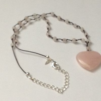 925 Sterling Silver Rose Quartz Heart Pendant Necklace