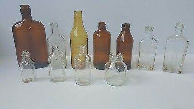 Lot of 11 Antique Apothecary & Other Bottles MOST EMBOSSED