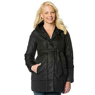 Maternity Oh Baby by Motherhood Hooded Puffer Coat sz L New