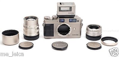 CONTAX G1 TITANIUM SLR FILM CAMERA KIT USED with 35MM, 90MM, TLA 200 & MORE!!