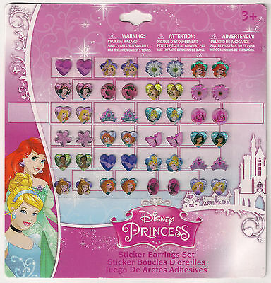 24 pairs stick on earrings DISNEY PRINCESS party gift temporary jewellery